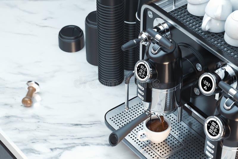 Kruszcowa srebna kawowa maszyna w trakcie robi? ?wie?ej kawie ?wiadczenia 3 d obrazy royalty free