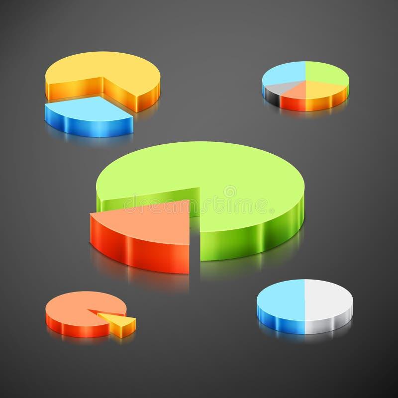 Kruszcowego infographics wykresu pasztetowy set ilustracji