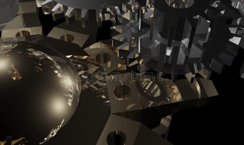 Kruszcowego projekta abstrakcjonistyczny mechanizm 3d obrazy royalty free