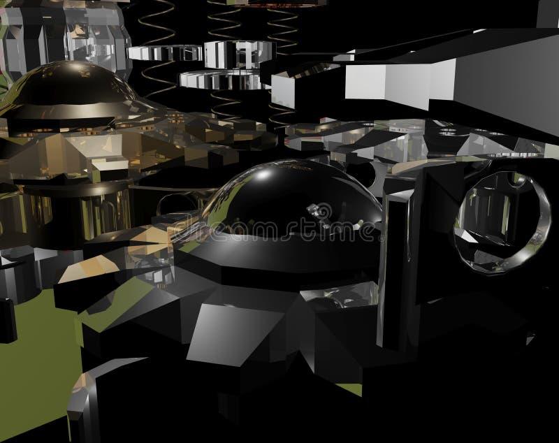 Kruszcowego projekta abstrakcjonistyczny mechanizm 3d zdjęcia stock