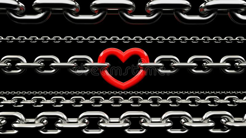 Kruszcowi łańcuchy Blokujący z czerwonym sercem ilustracja wektor