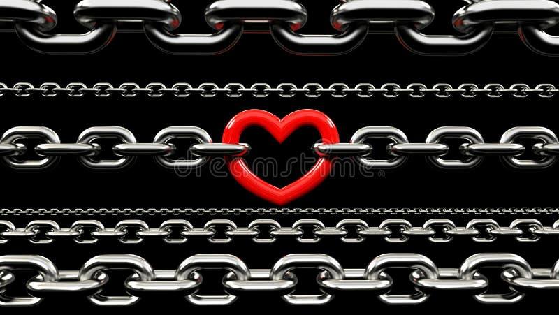 Kruszcowi łańcuchy Blokujący z czerwonym sercem royalty ilustracja