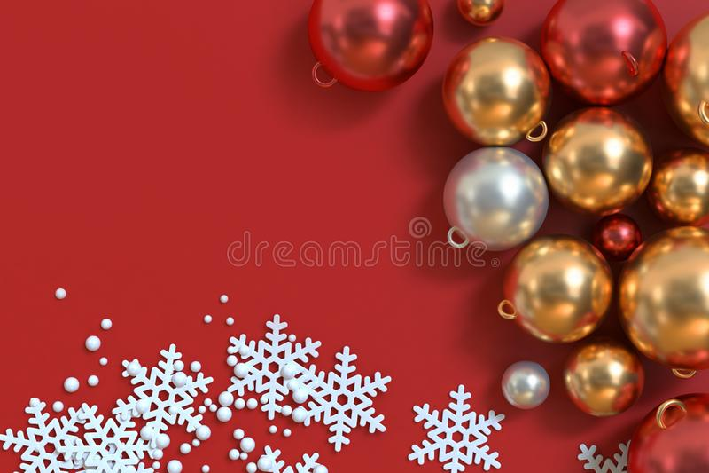Kruszcowi czerwoni białego złota boże narodzenia balowi z abstrakcjonistycznym śniegiem bożego narodzenia tło 3d zdjęcie stock