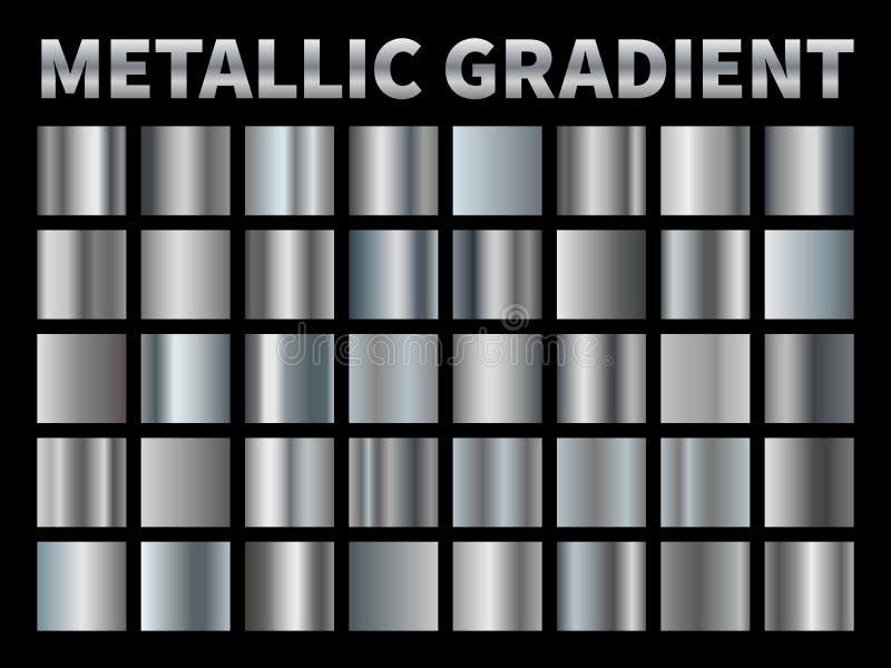 Kruszcowi gradienty Srebna folia, popielata błyszcząca metalu gradientu granicy faborku rama, aluminiowy błyszczący chrom z odbic ilustracja wektor