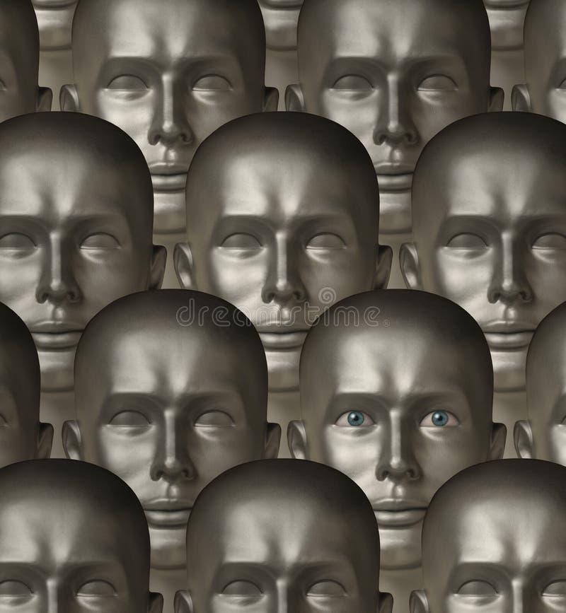 Kruszcowi robotów androidy jeden z ludzkimi oczami ilustracji