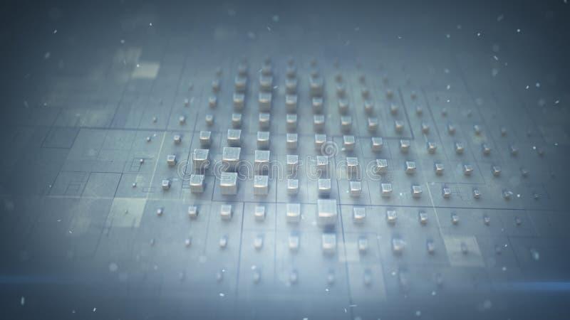 Kruszcowi sześciany na techno matrycują 3D renderingu ilustrację royalty ilustracja