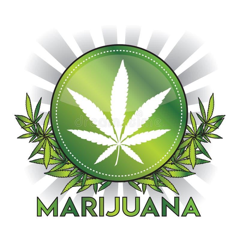 Kruszcowy zielony marihuany marihuany liścia odznaki projekt ilustracji