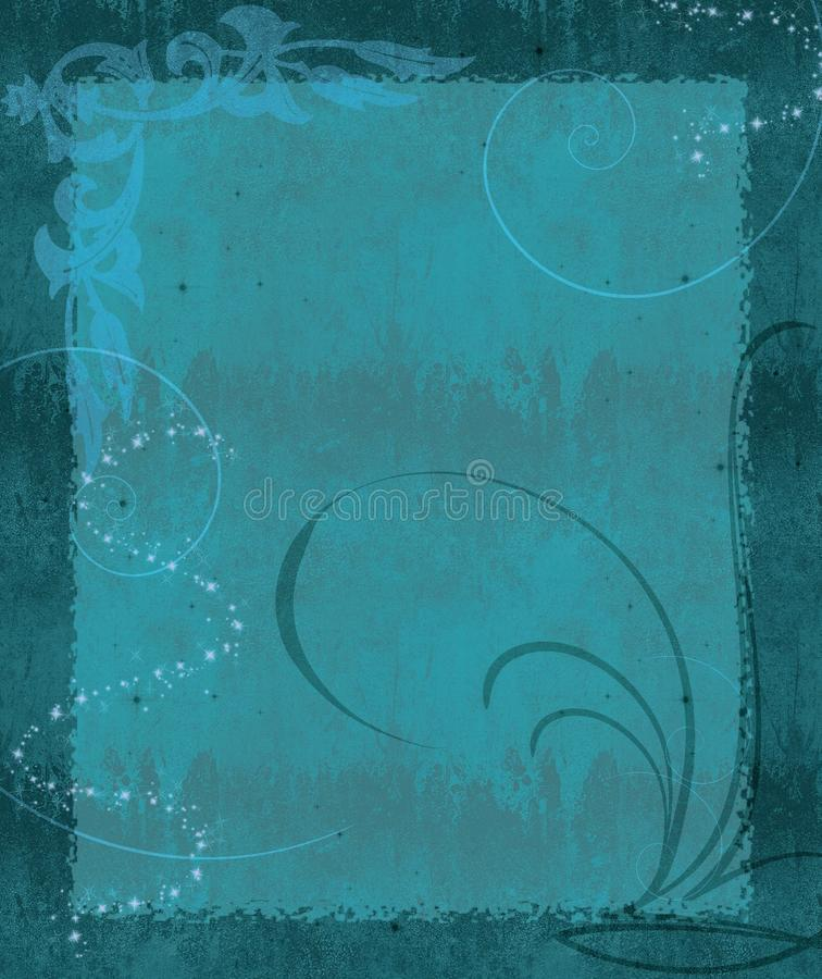 KRW Fantasy Background. Beautiful fantasy background in shades of teal blue with flourishes and swirls royalty free illustration