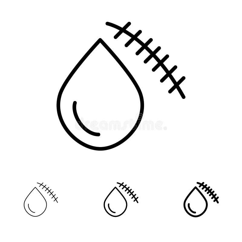 Krwawiący, krew, cięcie, uraz, Rani Śmiałego i cienkiego czerni linii ikony set ilustracja wektor