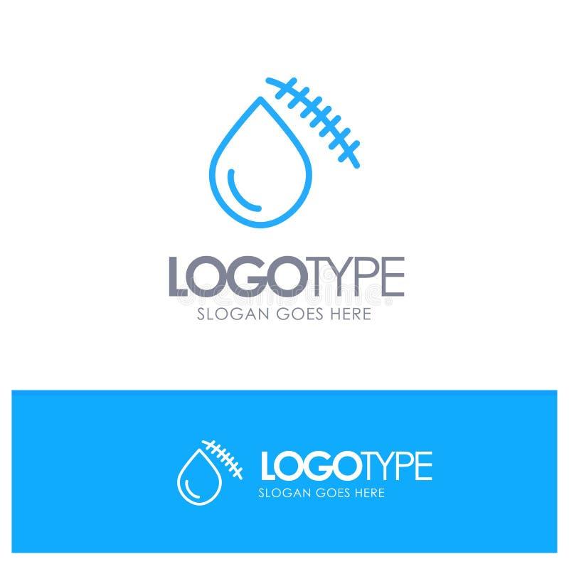 Krwawiący, krew, cięcie, uraz, Rani Błękitnego konturu logo miejsce dla Tagline royalty ilustracja