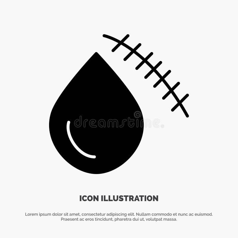 Krwawiący, krew, cięcie, uraz, Rani stałego glif ikony wektor ilustracji