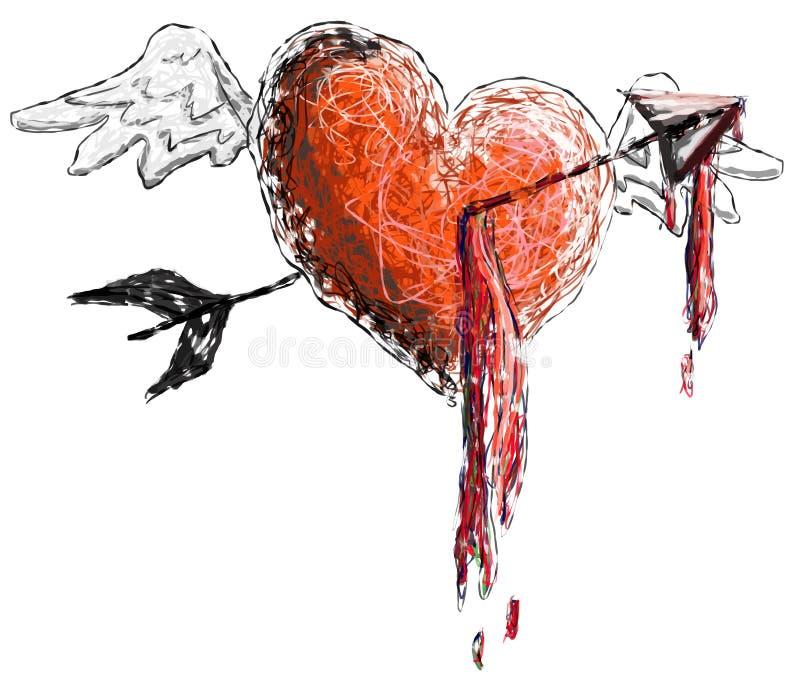 krwawiący serce ilustracji