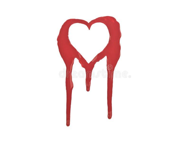 krwawiący serce odizolowywający konturu czerwony biel zdjęcia stock