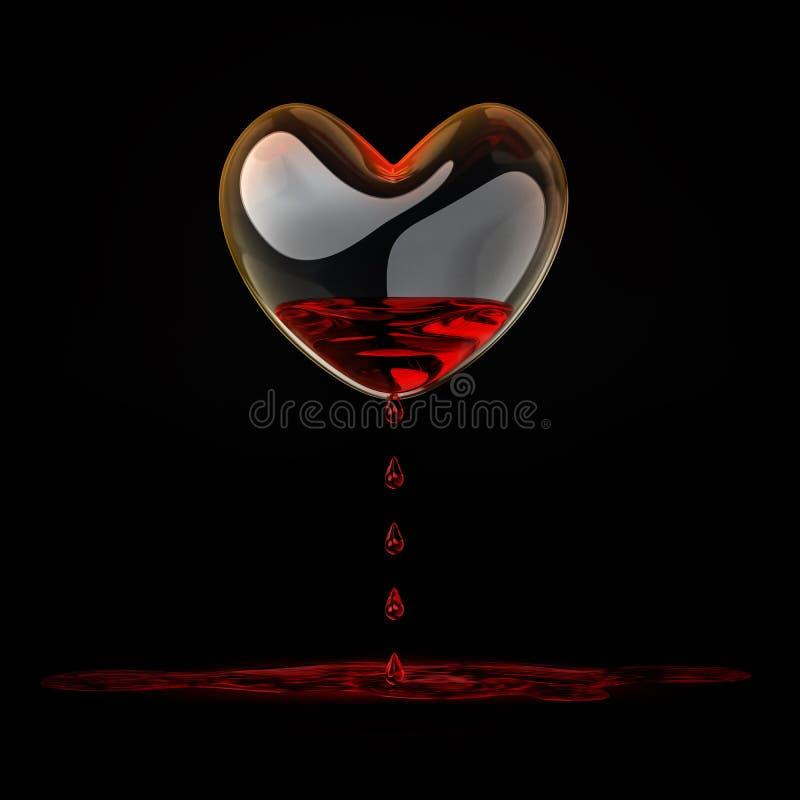 krwawiący serce szkło royalty ilustracja