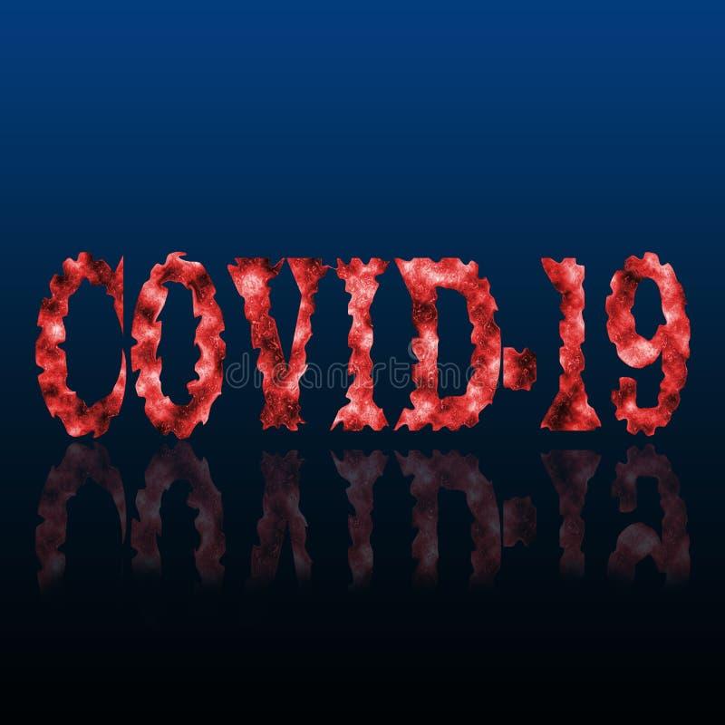 Krwawy napis COVID-19 Koncepcja ogniska koronawirusów uhan Pandemia medyczna Ilustracja naukowa na temat wirusa czerwonej korony fotografia royalty free