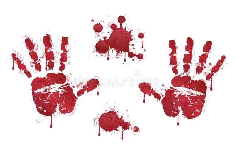 Krwiści czerwoni horrorów handprints i krew krople ilustracji
