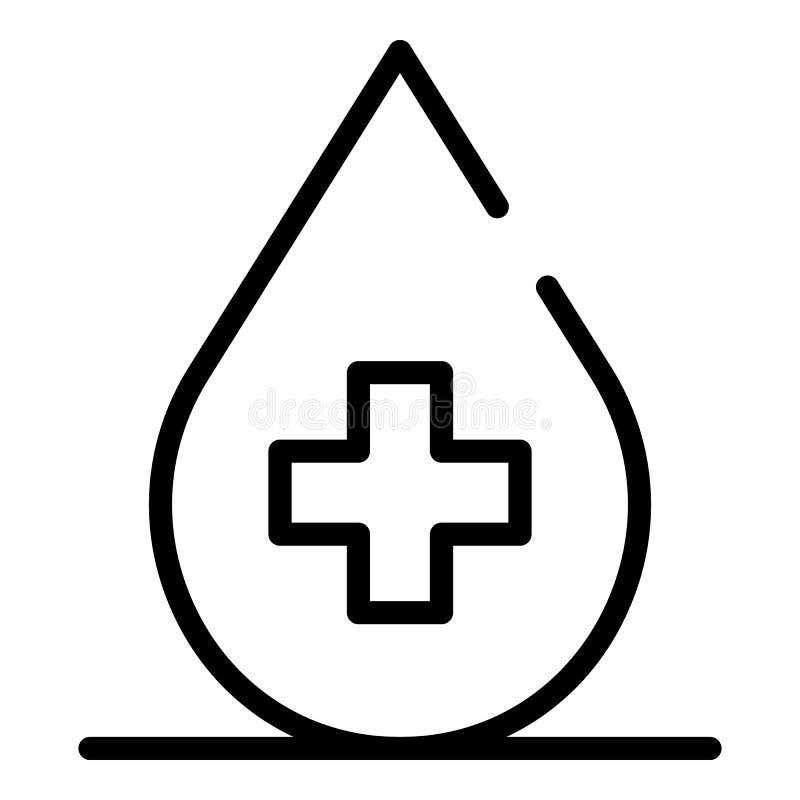 Krwi kropla z przecinającą ikoną, konturu styl royalty ilustracja