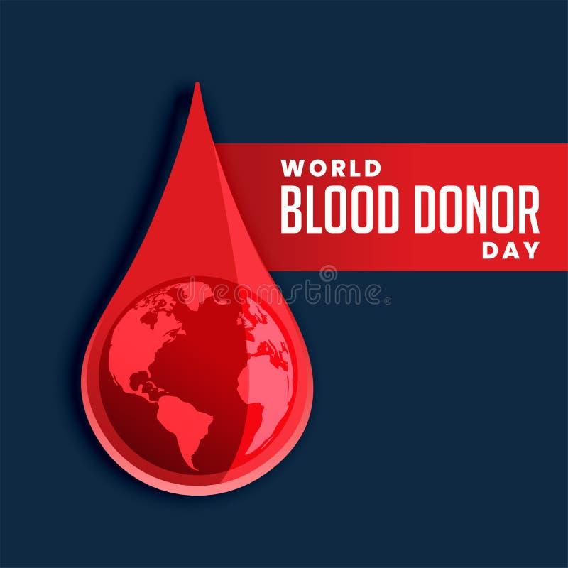 Krwi kropla z ziemskim pojęcia tłem ilustracja wektor