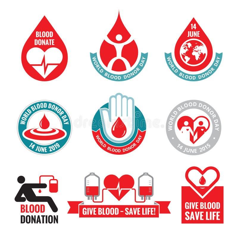 Krwionośna darowizna - wektorowe logo odznaki inkasowe Światowy krwionośnego dawcy dzień - 14 Czerwiec Serca i krwi opadowa ilust royalty ilustracja