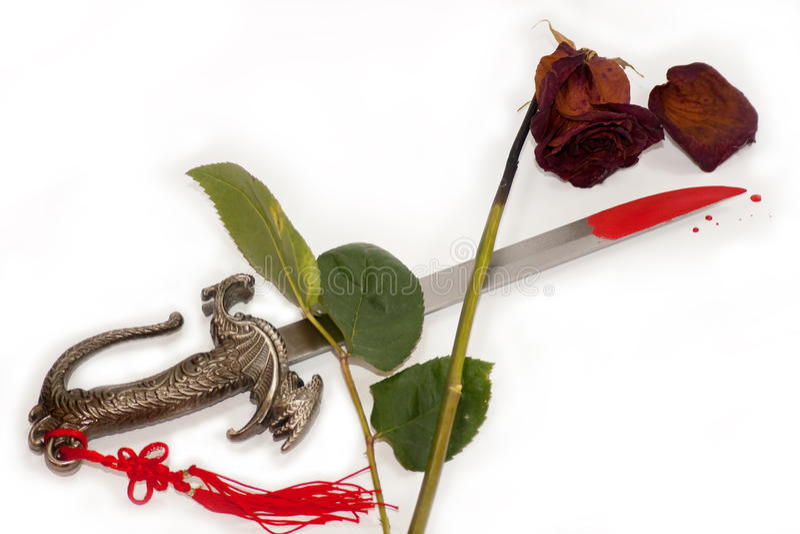 Download Krwionośna Końcówka Blaknąca Nożowa Sposobów Róża Plamiąca Zdjęcie Stock - Obraz złożonej z zemsta, greenbacks: 13330860