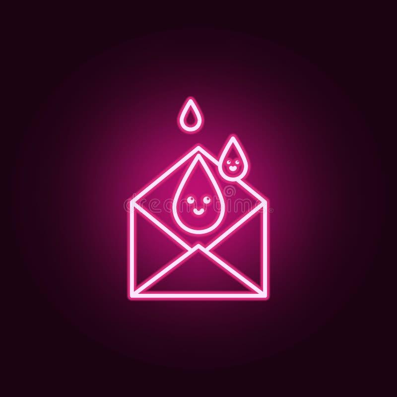 krwionośna kopertowa neonowa ikona Elementy Krwionośnej darowizny set Prosta ikona dla stron internetowych, sieć projekt, mobilny ilustracja wektor