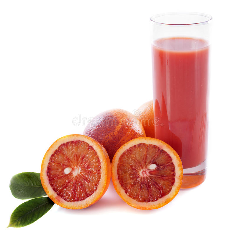 Krwionośna pomarańcze i sok fotografia royalty free