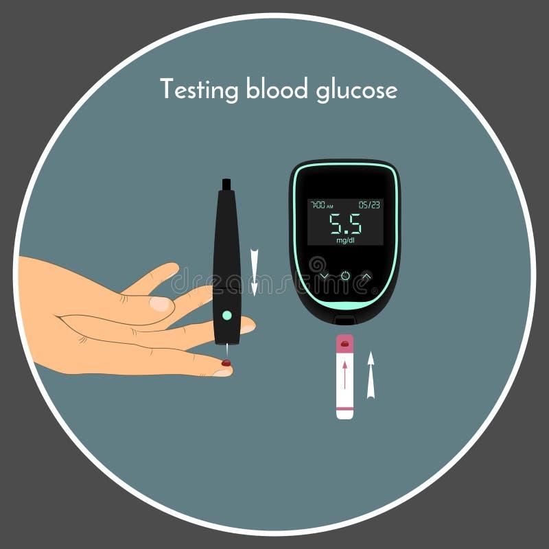 Krwionośnego cukieru pozioma monitorowanie z glikoza metrem Sprawdza twój krwionośnej glikozy poziom royalty ilustracja