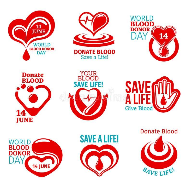 Krwionośnego dawcy dnia ikona dla zdrowie dobroczynności projekta ilustracji