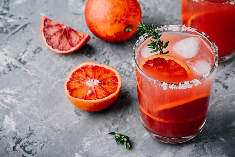 Krwionośnej pomarańcze Sangria z lodem i macierzanką fotografia stock