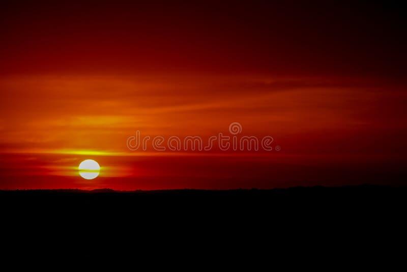 Krwionośny czerwony sunsetlight na niebie, słońce przy horyzontem zdjęcie stock