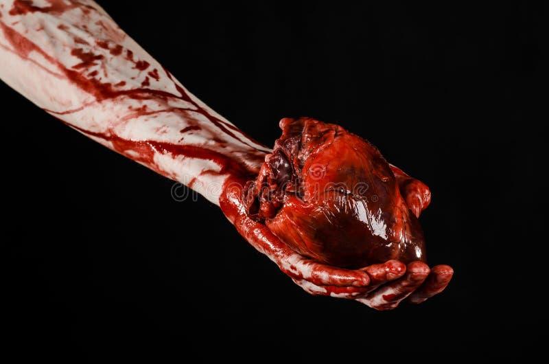 Krwionośny i Halloweenowy temat: okropny krwisty chwyt drzejący ręki krwawiący ludzki serce odizolowywający na czarnym tle w stud obrazy royalty free