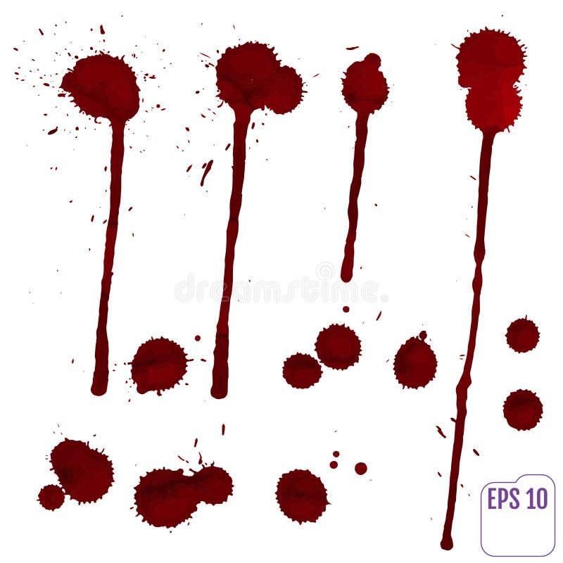 Krwionośny kapinos Wektorowa czerwona atrament plama, zaplamia i bryzga ilustracja wektor