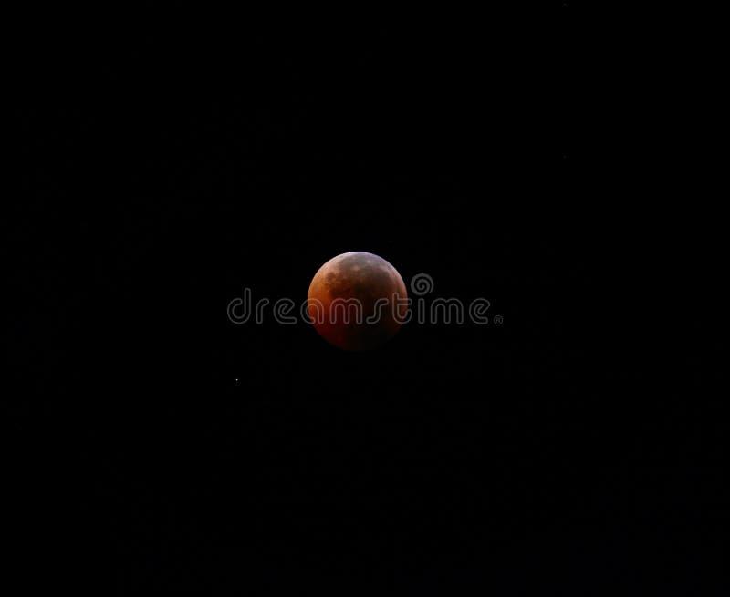 Krwionośny księżyc zaćmienie obraz stock