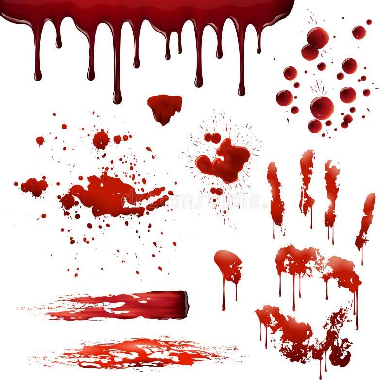 Krwionośnych odpryśnięć Bloodstain Realistyczni wzory Ustawiający ilustracja wektor