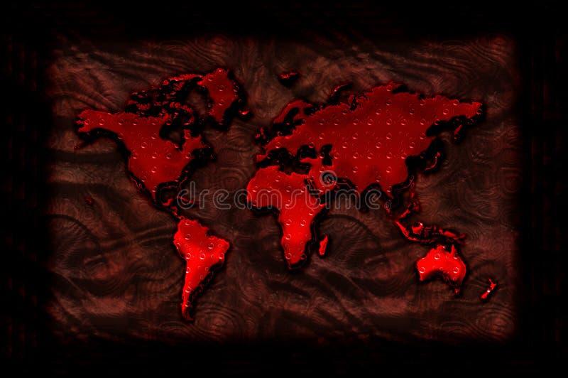 Krwista światowej mapy ilustracja ilustracja wektor