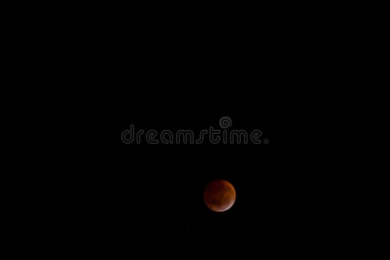 Krwista księżyc: Sumaryczny zaćmienie księżyca 2019 zdjęcie royalty free