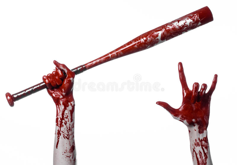 Krwista ręka trzyma kij bejsbolowego, krwisty kij bejsbolowy, nietoperz, krwionośny sport, zabójca, żywi trupy, Halloween temat,  zdjęcia royalty free