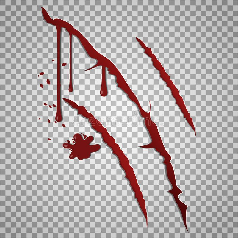 Krwiste narys oceny Wektorowe nacięte rany z krwionośnymi kroplami royalty ilustracja