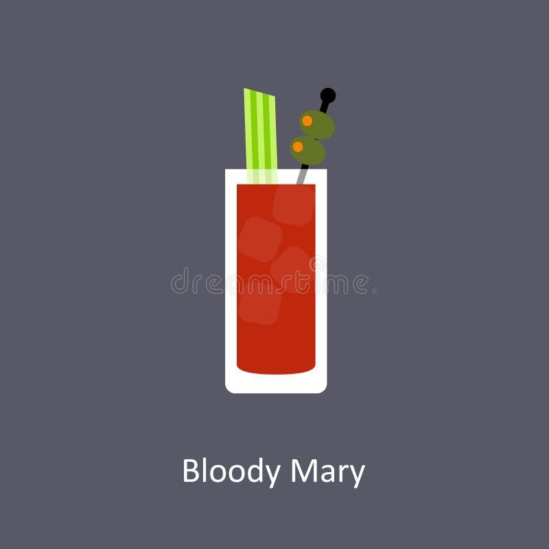 Krwistego Mary koktajlu ikona na ciemnym tle ilustracji