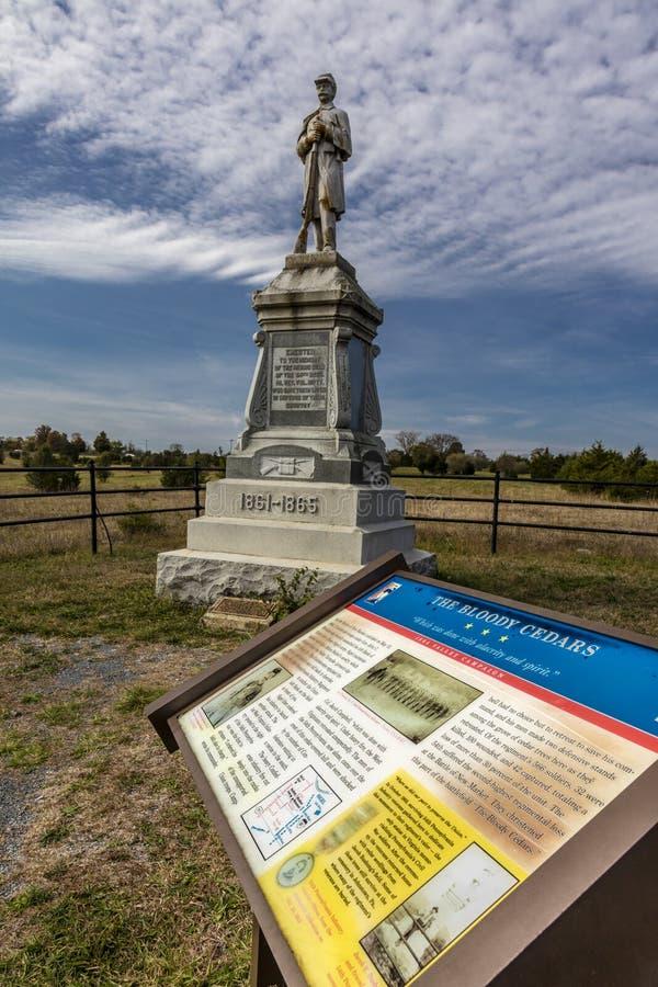 Krwistych cedrów Cywilny Wojenny pomnik, upamiętnia bitwę między północ i południe 1864 Dolinnych kampanii, nowy rynek w Shenando fotografia royalty free