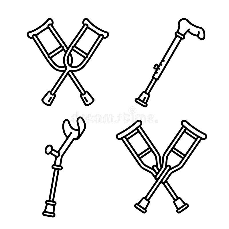 Kryckasymbolsuppsättning, översiktsstil stock illustrationer