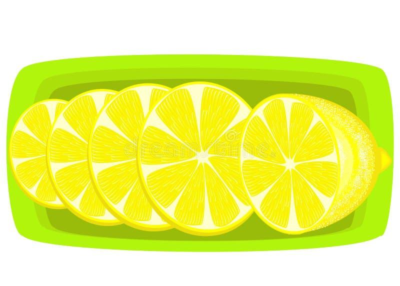Krydda en saftig citron Skivor på ett uppläggningsfat Aromatisk fest K?llan av vitaminer och sp?r?mnar ocks? vektor f?r coreldraw vektor illustrationer