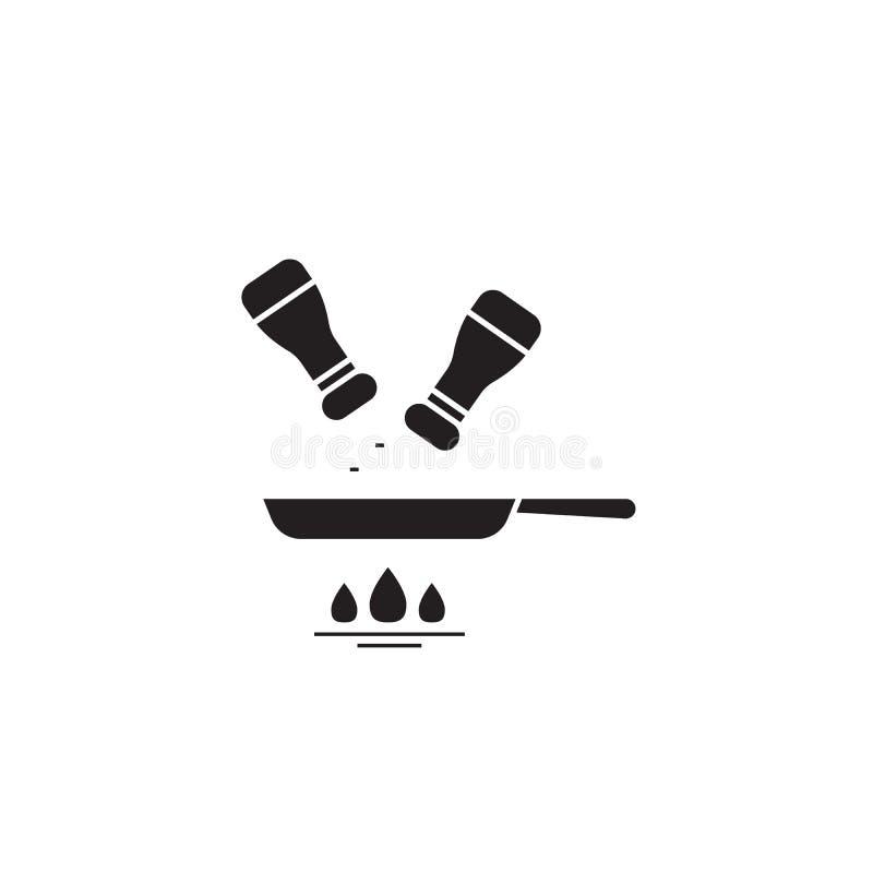 Krydda för vektorbegrepp för mat den svarta symbolen Krydda den plana illustrationen för mat, tecken stock illustrationer