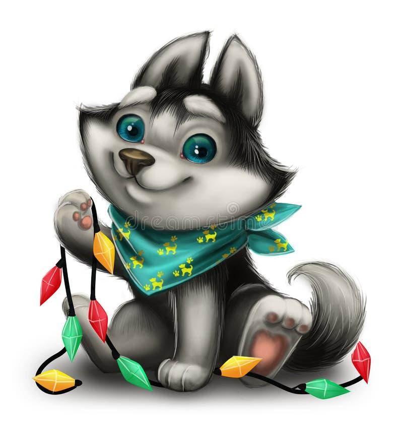 Krydda hälsningar för ` s med Husky Puppy och semestra leksaker - glad jul och lyckligt nytt år - detdrog tecknad filmteckenet stock illustrationer
