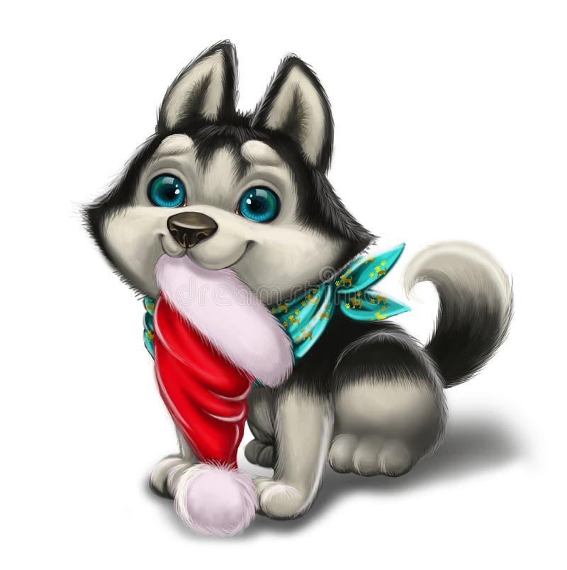 Krydda hälsningar för ` s och ferieförälskelse med gulliga Husky Puppy - glad jul och lyckligt nytt år - detdrog tecknad filmteck vektor illustrationer