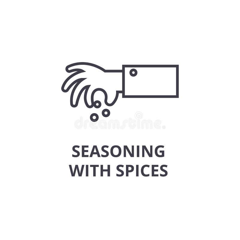 Krydda med kryddor fodra symbolen, översiktstecknet, det linjära symbolet, vektorn, plan illustration royaltyfri illustrationer