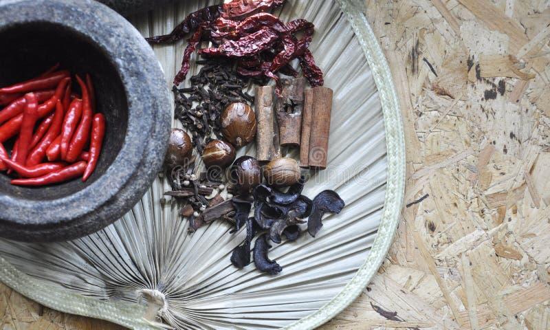 Krydda- och örtingredienser med traditionellt begrepp på träbakgrund royaltyfri bild