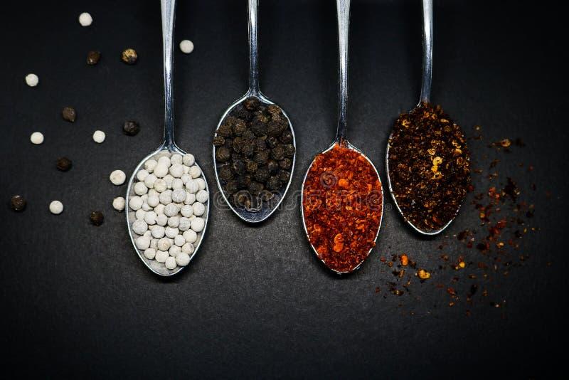 krydda som är kryddigt Thailändska kryddor på skeden Peppar- och caryennepeppe arkivbilder