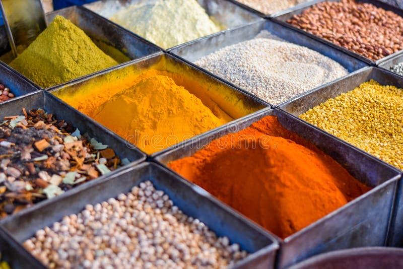 Kryddacurrymarknad i Jodhpur, Indien arkivbild