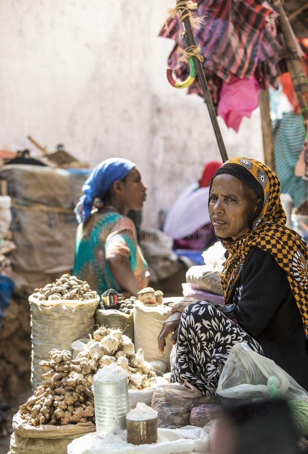 Kryddamarknad i Harar, Etiopien royaltyfria bilder